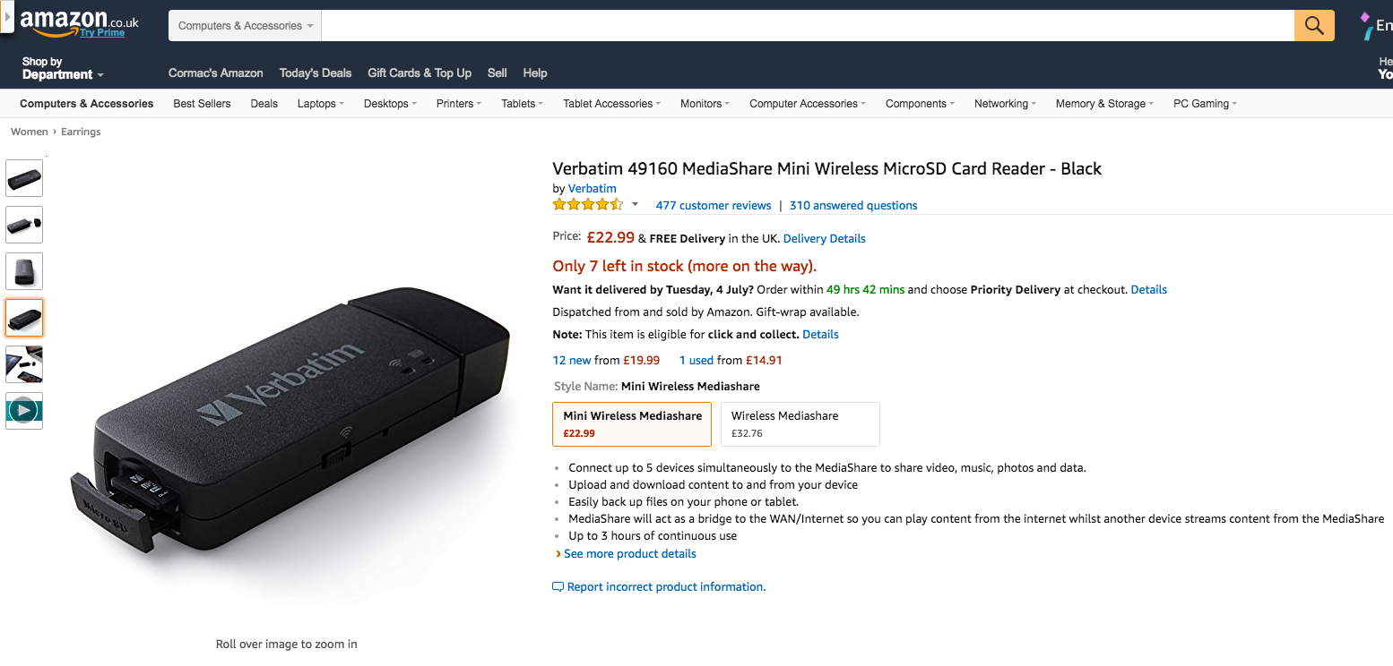 Verbatim 49160 MediaShare Mini Wireless MicroSD Card Reader Black Amazon.co.uk Computers Accessories