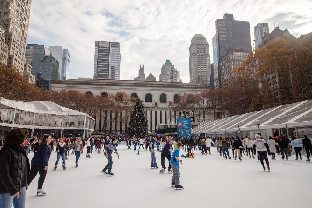 Ice skating in New York at Christmas time - Bryant Park
