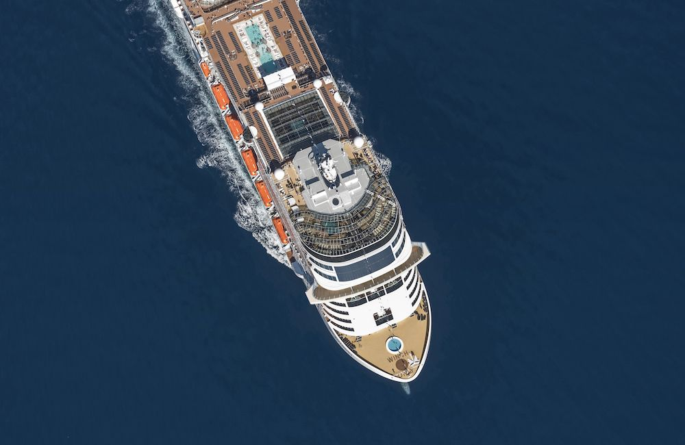 ariel view of msc bellissima
