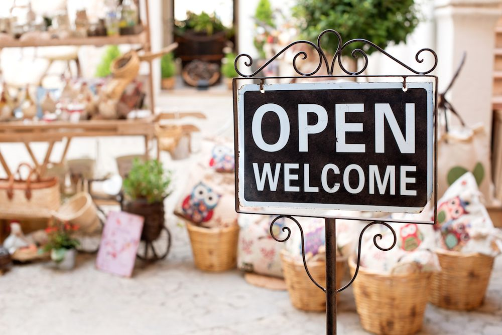open welcome shop sign avios