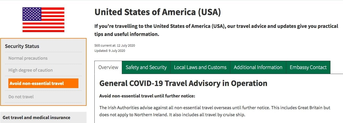 we need do not travel advice to selected countries