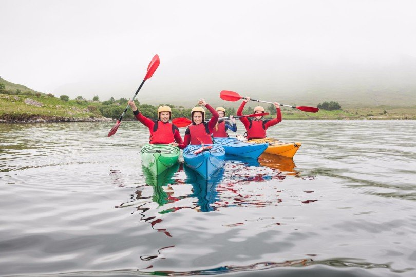 Kayaking at Delphi Resort - one of the hotels in Galway with large family rooms