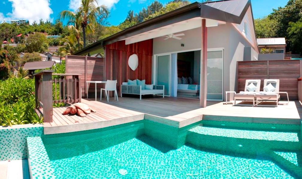 beach chalets in the Seychelles for couples.