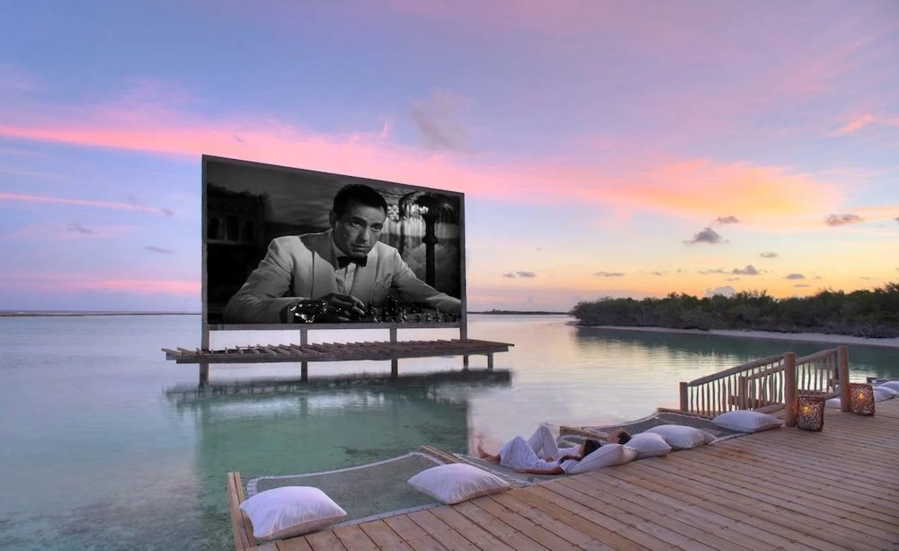 outdoor movies in the Maldives.