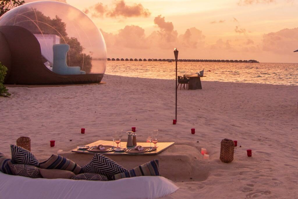 Finolhu bubble tent, Maldives.