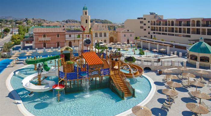 children's splash pool at the Atlantica Aegean Blue Hotel, Rhodes.