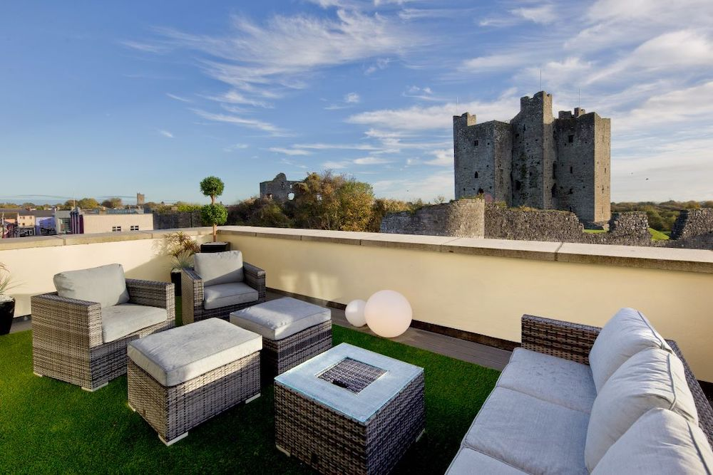 Rooftop lounge at Trim Castle Hotel.