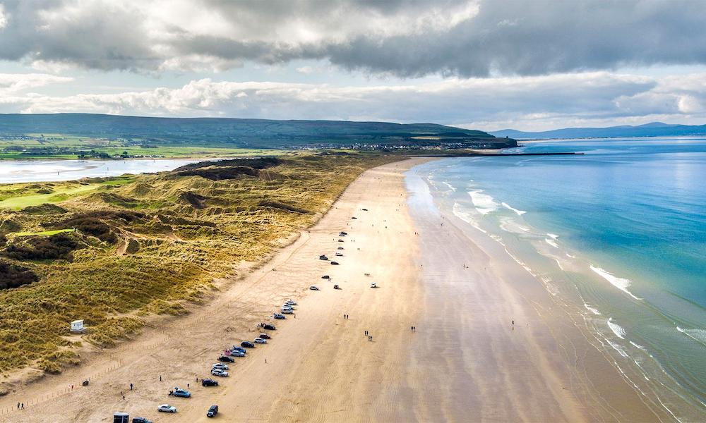 Drone image of Portstewart Beach, Northern Ireland.
