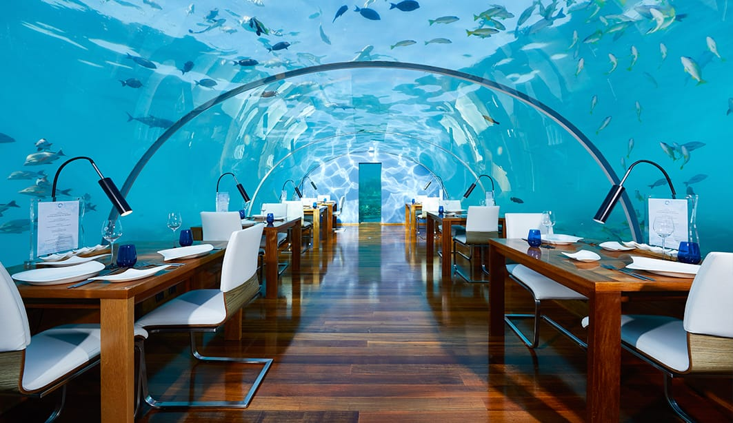 Restaurant under the sea in the Maldives