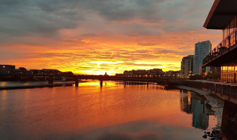 sunset over the Limerick Clayton hotel