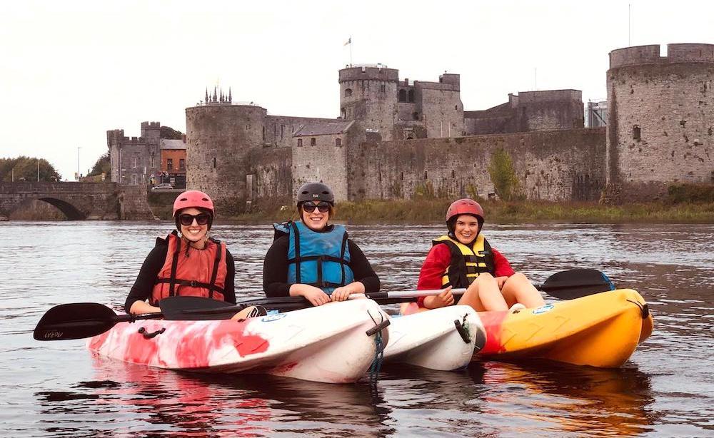 Kayaking in Limerick on a girls night away in Ireland