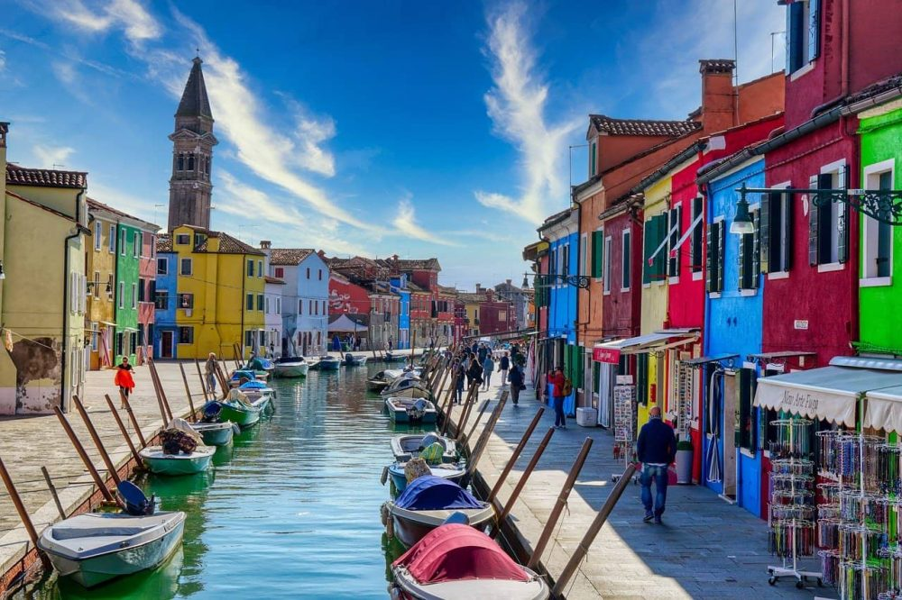 The colourful streets of Burano, Venice