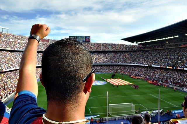 man at Nou Camp Barcelona